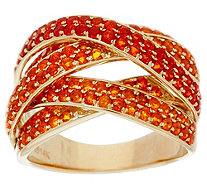Pave' Mexican Fire Opal Multi-Row Ring 14K Gold 1.30 cttw - J330998