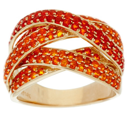 Pave' Mexican Fire Opal Multi-Row Ring 14K Gold 1.30 cttw