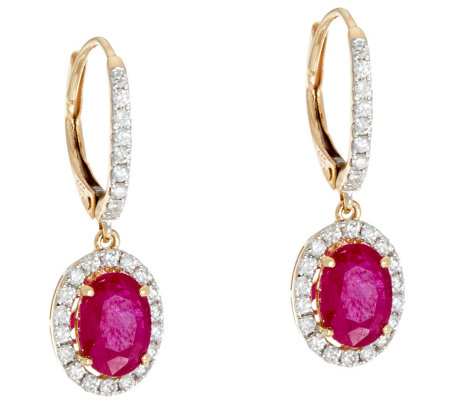 Ruby, Emerald or Sapphire & Diamond Drop Earrings, 14K, 1.20 cttw
