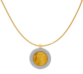 """As Is"" Bronze 500 Lire coin Omega Necklace by Bronzo Italia - J331398"