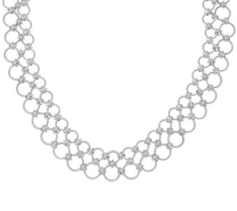Judith Ripka Verona Sterling Silver Multi-circle Necklace 56.0g - J331598