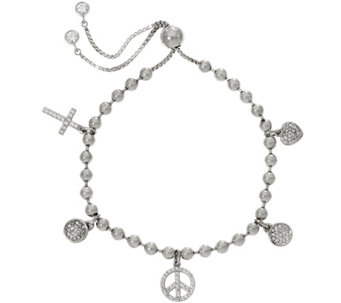 """As Is"" Diamonique Adjustable Multi-Charm Bracelet, Ster. - J332398"