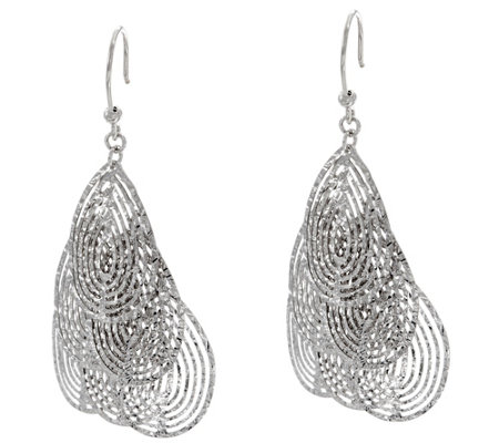 """As Is"" Italian Silver Sterling Diamond Cut Dangle Earrings"