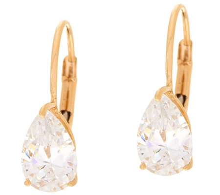 Diamonique 2.00 cttw Pear Leverback Earrings, 14K Gold