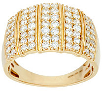 Pave' White Diamond Wide Band Ring, 14K 1.00 cttw by Affinity - J349098
