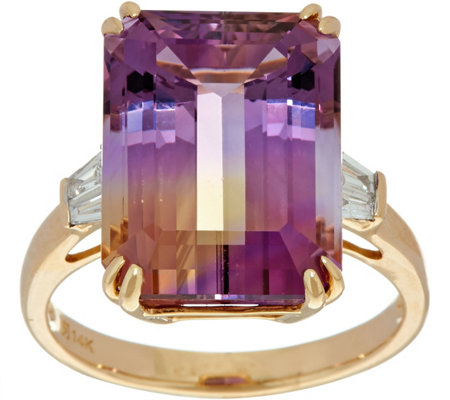 Emerald Cut Ametrine and Baguette Diamond Ring 14K