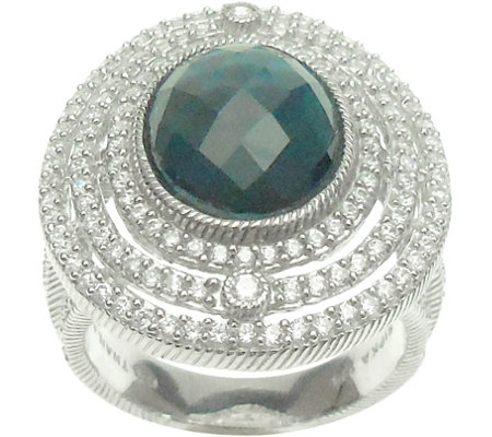 Judith Ripka Sterling 4.25 ct Blue Topaz & Diamonique Ring