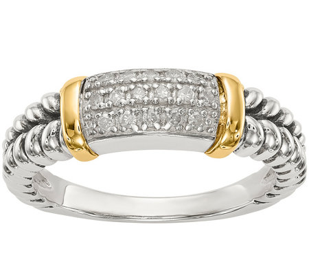 Sterling & 14K 1/10 cttw Diamond Band Ring