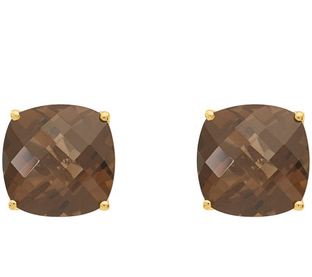 Sterling/14K 7.65 cttw Cushion-Cut Smoky Quartz Earrings