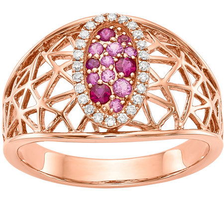 14K Rose Gold Diamond, Ruby & Sapphire Oval Ring