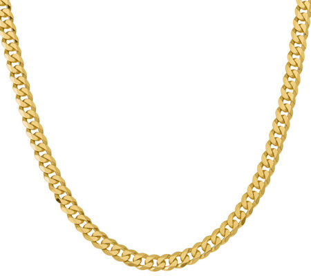 "14K Gold Flat Beveled 24"" Curb Necklace, 79.8g"