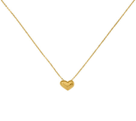 Italian Gold Puffed Heart Necklace 14K, 1.3g