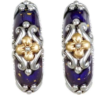 Barbara Bixby Sterling & 18K Enamel Earrings