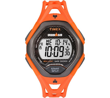 Timex Men's Ironman Sleek 30 Orange Strap Watch