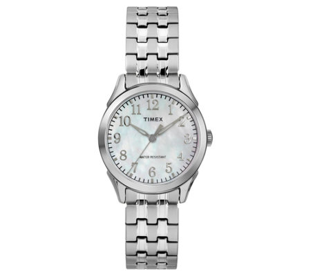 Timex Ladies Mother-of-Pearl Stainless Analog Watch