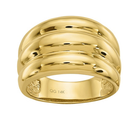 14K Gold Ribbed Dome Ring