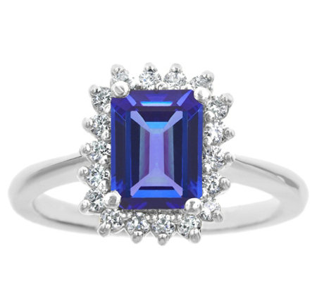 14K Gold 1.40 cttw Emerald-Cut Tanzanite Halo Ring