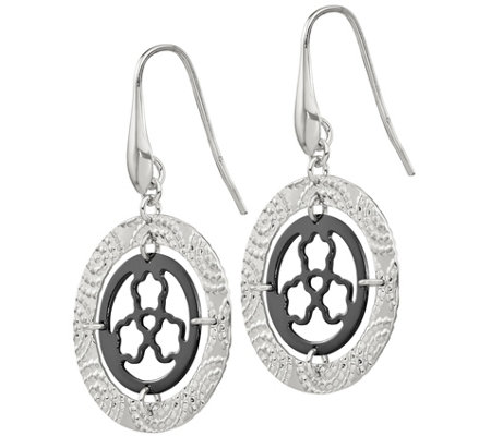 Italian Silver Textured Disk Dangle Earrings