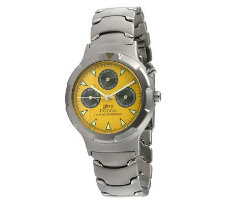 Gino Franco Unisex Yellow Dial Multifunction Watch