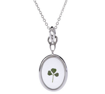 Solvar Silvertone Oval Shamrock Pendant with Chain - J146799