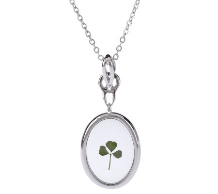 Solvar Silvertone Oval Shamrock Pendant with Chain