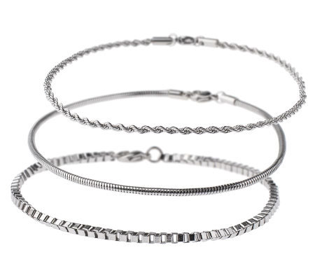 Stainless Steel Set of 3 Chain Ankle Bracelets