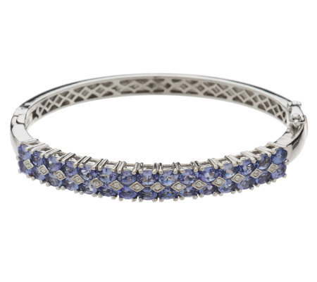 4.55 cttw Tanzanite & White Zircon Sterling Bangle