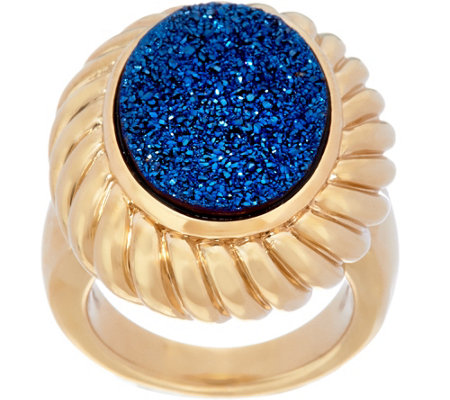 Oval Drusy Quartz Ring with ScallopedBorder 14K Gold