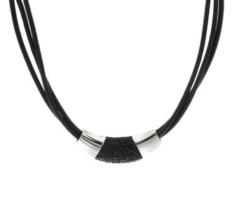 """As Is"" Stainless Steel Multi-Strand Leather Necklace - J273399"