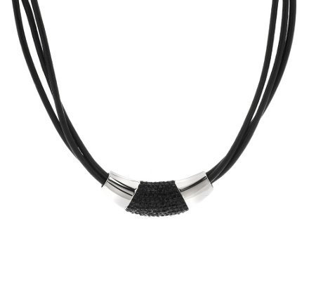 """As Is"" Stainless Steel Multi-Strand Leather Necklace"