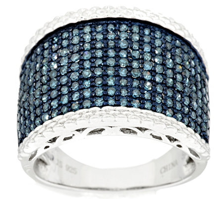 Pave' Blue with Trim Diamond Ring, Sterling 1.00 cttw, by Affinity
