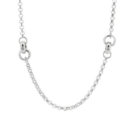 """As Is"" Italian Silver Sterling 36"" Status Link Necklace, 38.5g"