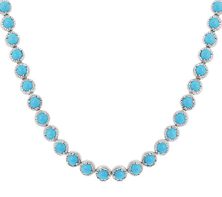 "Sleeping Beauty Turquoise Diamond Cut 18"" Sterling Tennis Necklace"