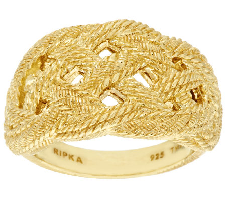 Judith Ripka Sterling & 14K Clad Braided Berge Texture Ring