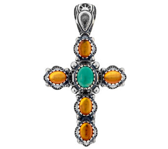 American West Turquoise & Amber Sterling Cross Enhancer - J296899