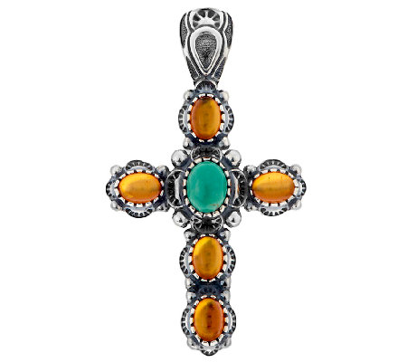 American West Turquoise & Amber Sterling Cross Enhancer
