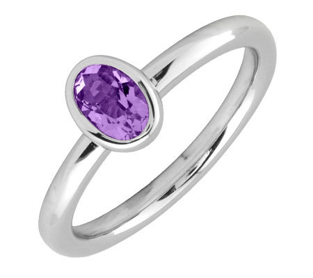 Simply Stacks Sterling & Oval Amethyst Ring