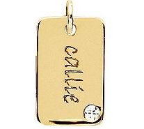 Posh Mommy 18K Gold-Plated Mini Dog Tag Sim Birthstone Pendan - J300099