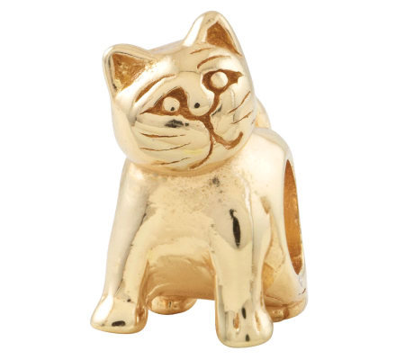 Prerogatives 14K Yellow Gold-Plated Sterling Cat Bead
