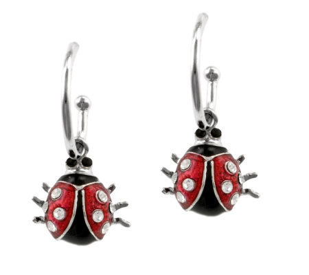 Mixers Sterling Enamel Ladybug Charm Hoop Earrings