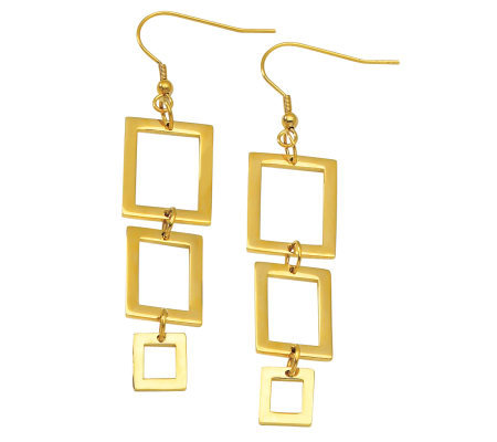 Stainless Steel Yellow IP-Plated Rectangle Dangle Earrings