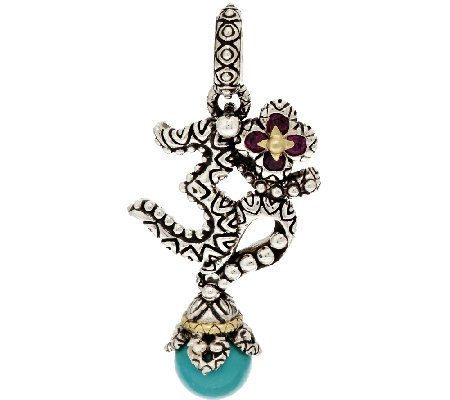 Barbara Bixby Sterling & 18K Turquoise and Garnet Om Charm