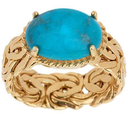 """As Is"" 14K Gold Bold Byzantine & Turquoise Ring"