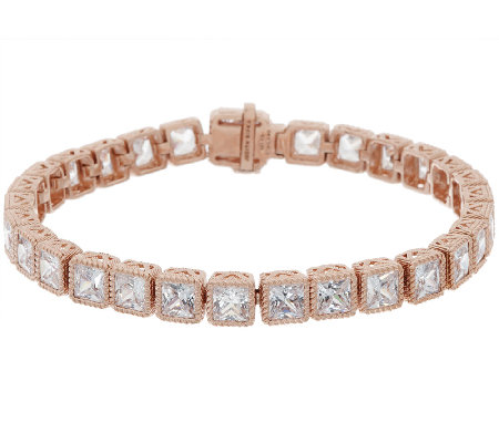 "Judith Ripka 8"" Sterling & 14k Rose Gold Diamonique Tennis bracelet"