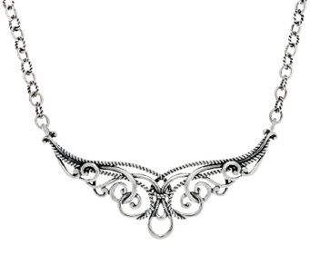 Carolyn Pollack Sterling Silver Signature Scroll Necklace 20.5g - J320099