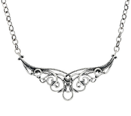 Carolyn Pollack Sterling Silver Signature Scroll Necklace 20.5g