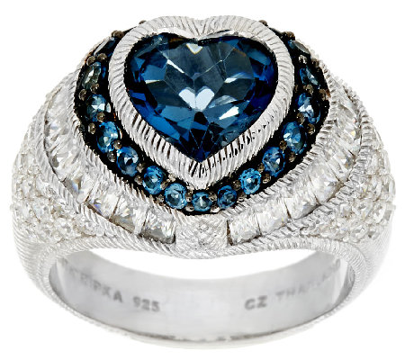 Judith Ripka Sterling & London Blue Topaz 4.10 cttw Heart Ring
