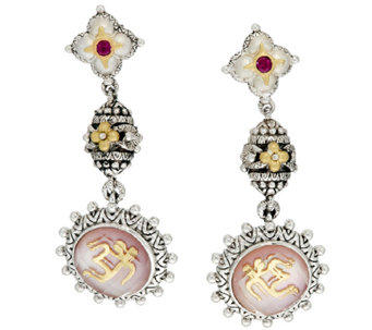 Barbara Bixby Sterling & 18K Yellow Gold Gemstone Om Dangle Earrings - J320399