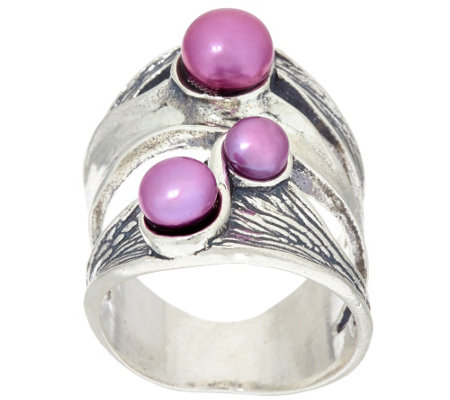 Sterling Silver Cultured Pearl Textured Ring by Or Paz