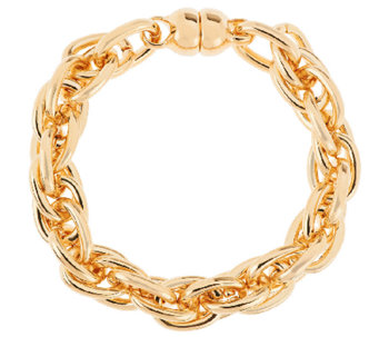 """As Is"" Oro Nuovo 6-3/4"" Triple Rolo Link Bracelet, 14K - J321299"
